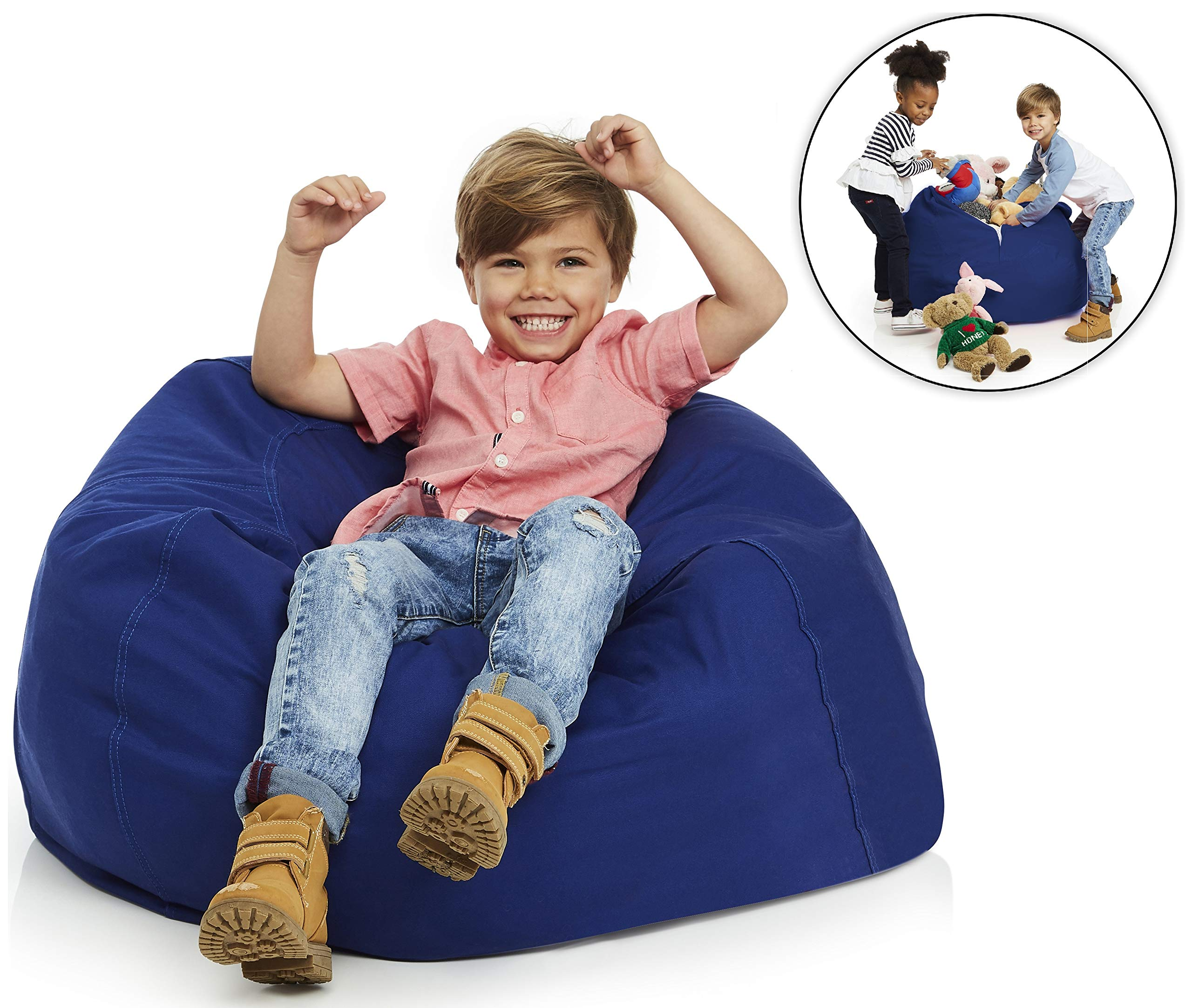 Delmach Stuffed Animal Storage Bean Bag Chair | 38'' Width Extra Large | Premium Double Stitched Cotton Canvas | Kids Blue Bean Bag Cover