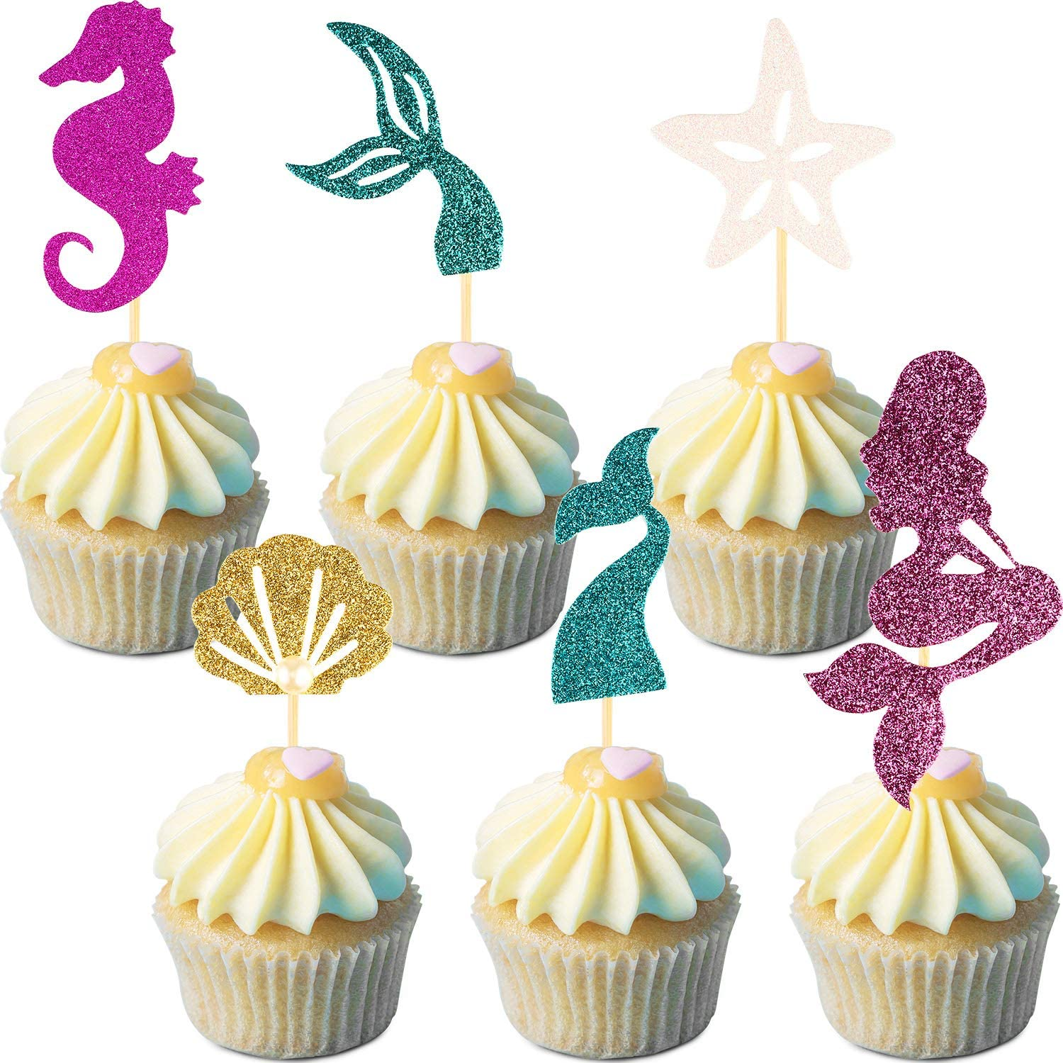 60 Pieces Mermaid Theme Glitter Cupcake Toppers Cake Picks Include Mermaid, Fishtail, Seahorse, Seashell and Starfish Cake Topper for Birthday Baby Shower