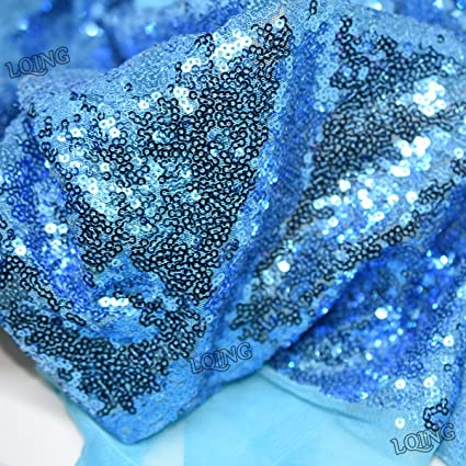 b00ca051 LQIAO 1 Yard Sequin Fabric Ice Blue-Sparkly Embroidery Lace Turquoise Sequin  Fabric by The