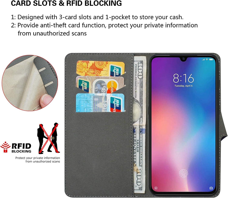 HUANGTAOLI Libro de Cuero con Tapa y Cartera Funda para Xiaomi Redmi 9 M2004J19AG, 6,53