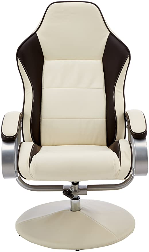 Amstyle SPM1 Sporting TV - Sillón Giratorio y reposapiés (Piel sintética), sillón de Relax, Giratorio