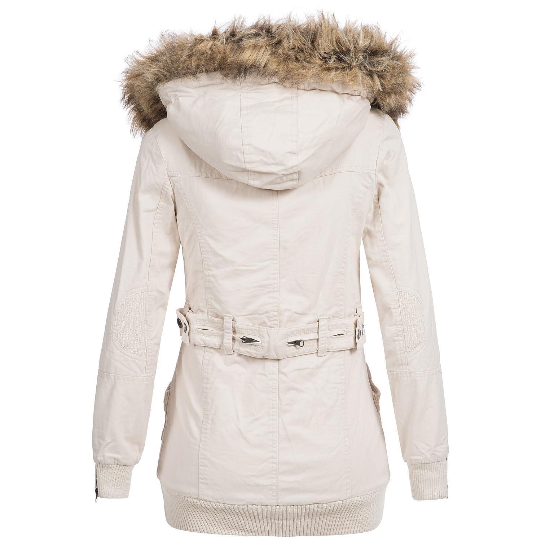 Damen winterjacke parka mantel lang steppjacke fell b175a