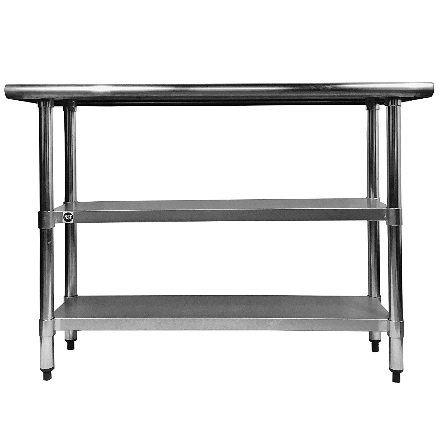 Stainless Steel Prep Work Table 18 x 48 with 2 undershelves NSF - Heavy Duty