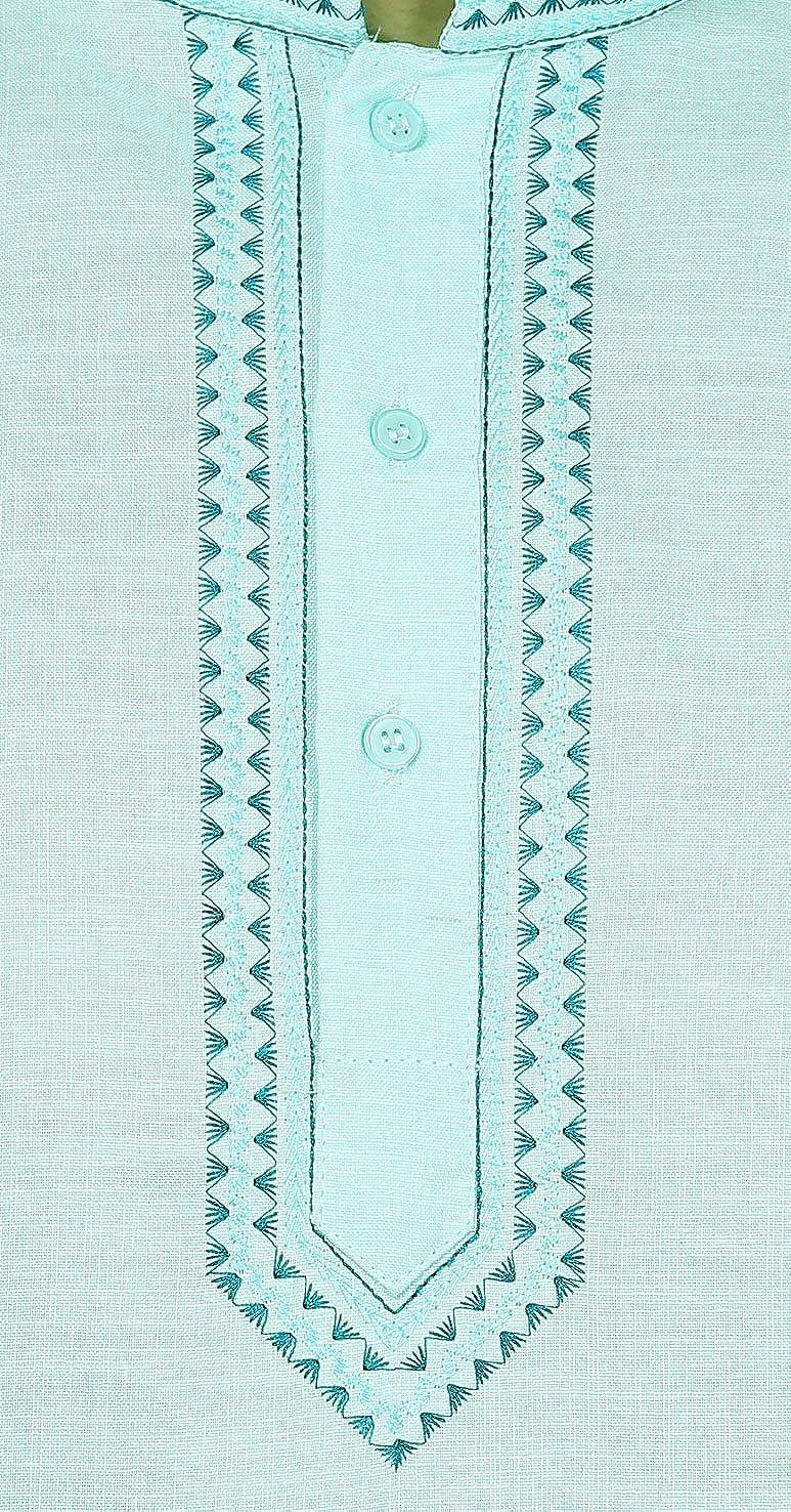 Embroidered Cotton Dress Mens Short Kurta Shirt India Fashion Clothes