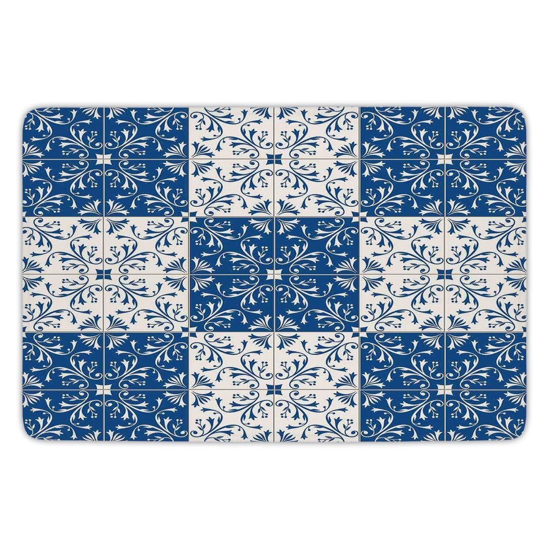 Bathroom Bath Rug Kitchen Floor Mat Carpet,Moroccan,Turkish Portuguese Style Mosaic Ceramic Patterns Country Style Vintage Image,Navy Blue White,Flannel Microfiber Non-slip Soft Absorbent