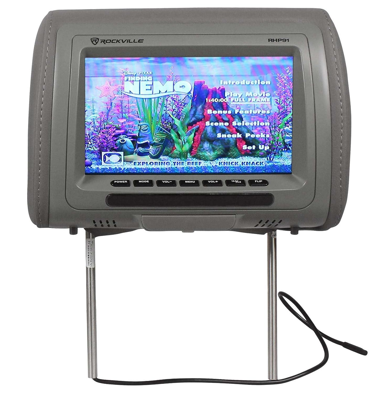 "Pair Rockville RHP7-GR 7/"" Grey TFT-LCD Car Headrest TV Monitors w//Speakers+IR"