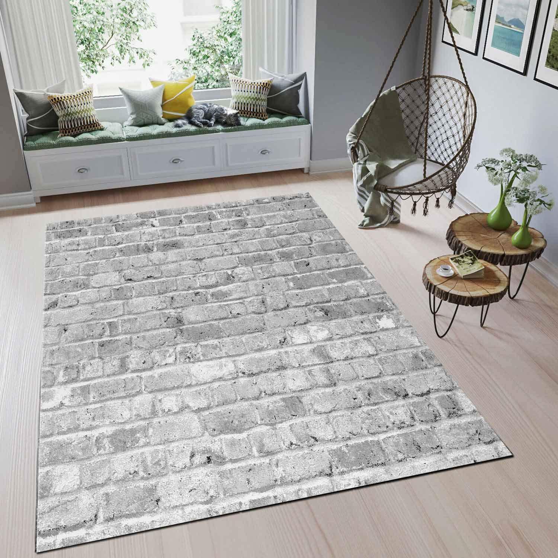 VIMODA Moderner Teppich Wohnzimmer Stein Optik Mauer Muster Strapazierfähig in Grau 160x230 cm
