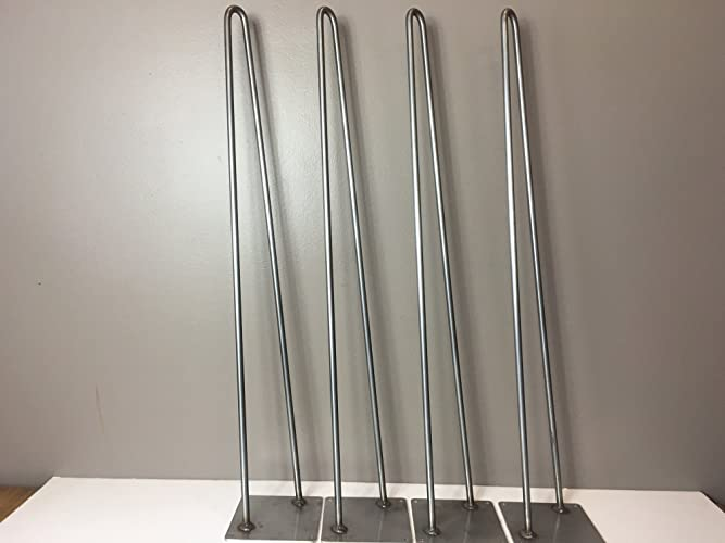 Hairpin Leg,Stainless Steel Table Legs Set Of 4 Modern Industrial 2 Rod  Hairpin