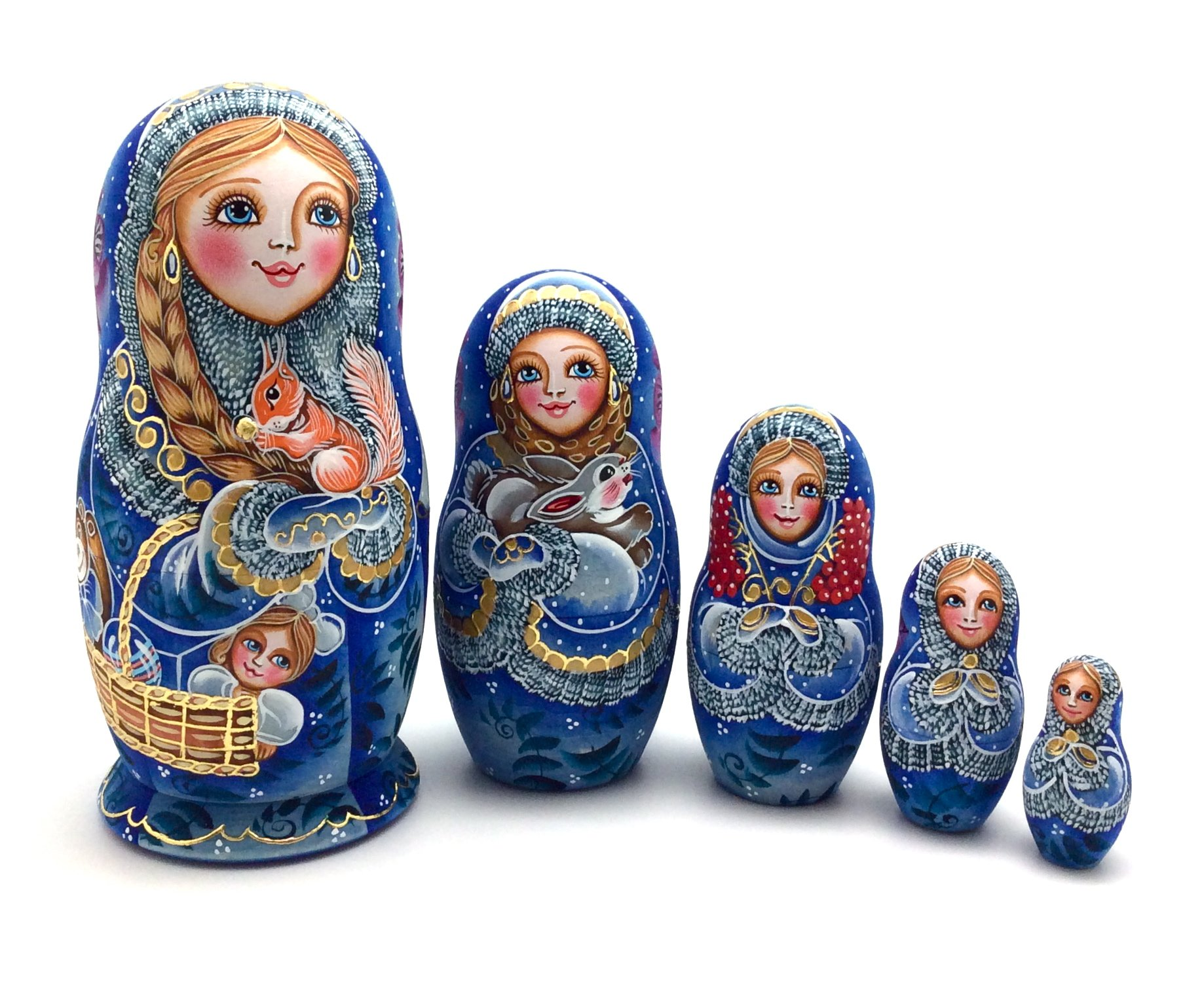 Unique Russian Nesting dolls ''Girl with a toys''Hand Carved Hand Painted 5 piece set
