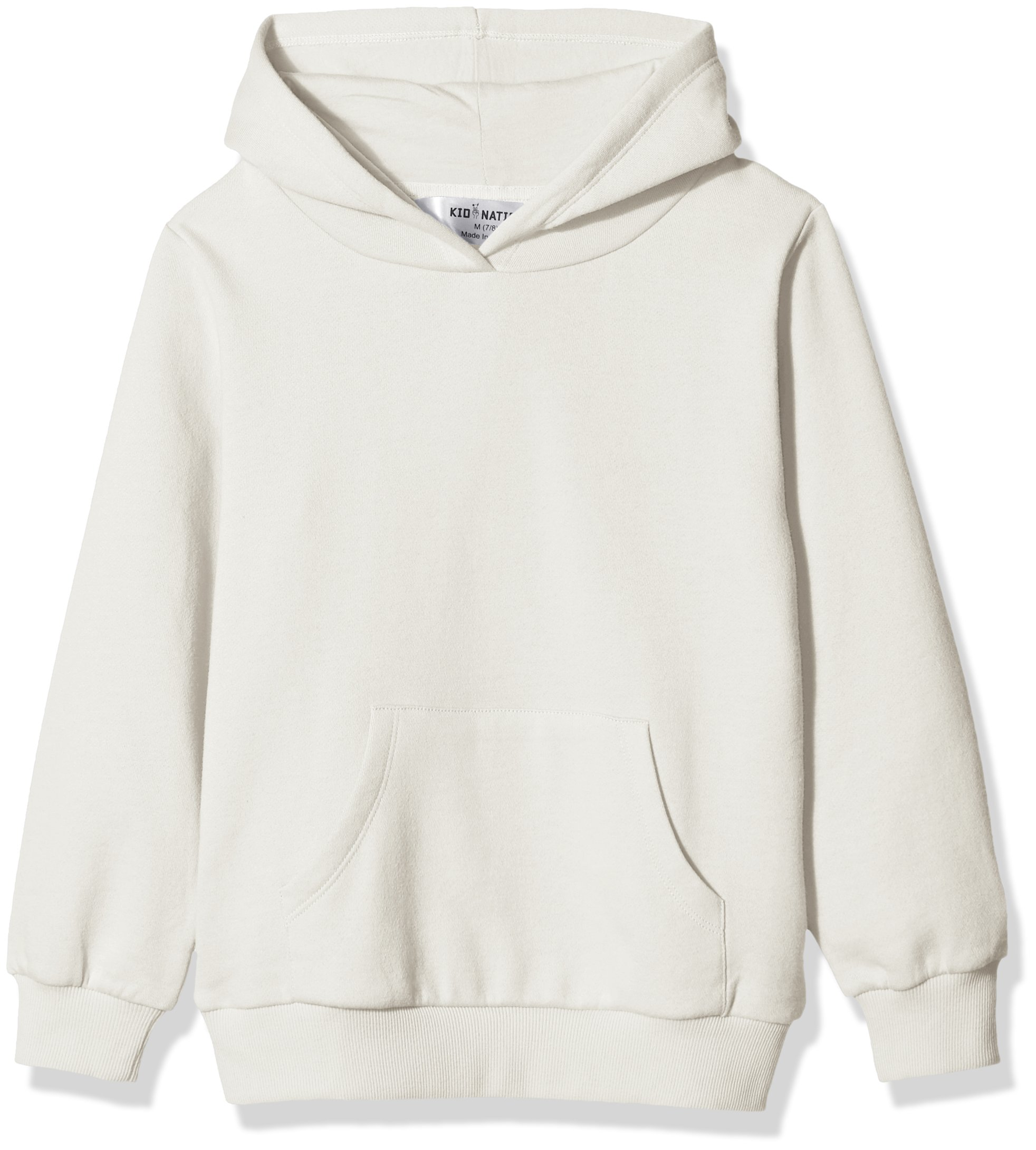 Kid Nation Kids' Solid Fleece Hooded Pullover Sweatshirt for Boys Or Girls M White