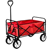 TecTake Foldable Garden Mesh Cart Pull Along Wagon Trailer Hand Cart