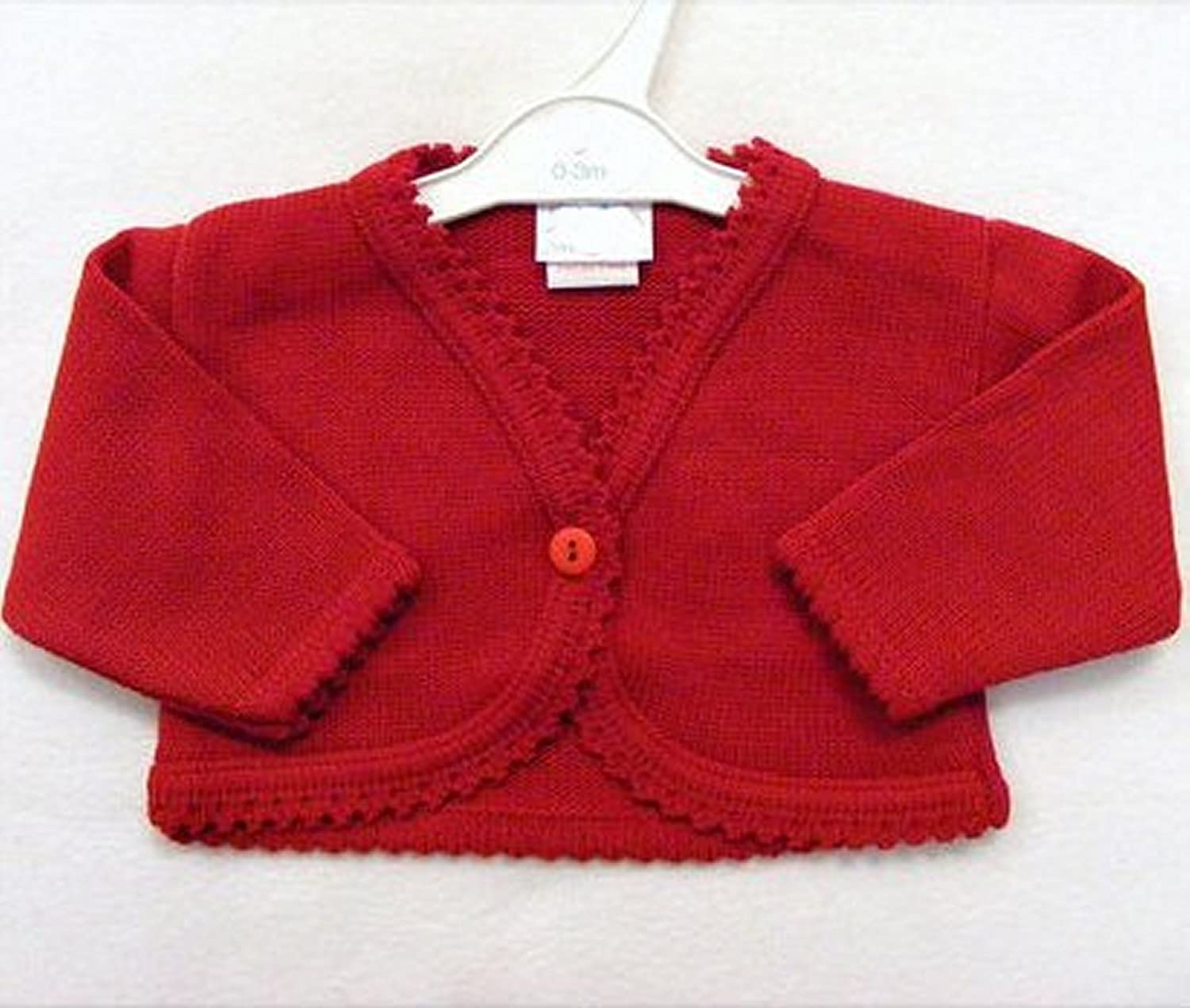 Baby Girls Red Knitted Bolero Cardigan by Dandelion (0-3 Months)