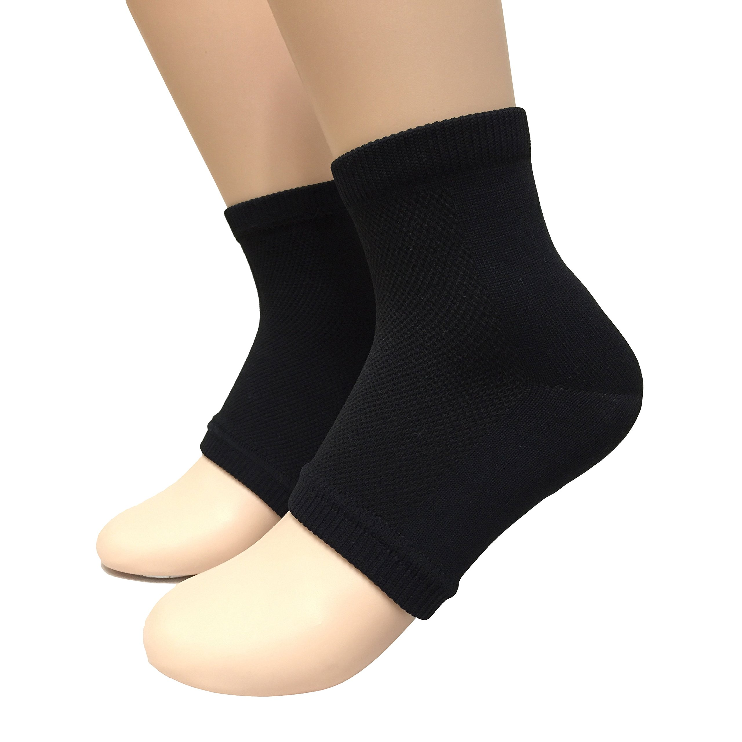 BOGO acebone Beauty Spa Moisturizing Gel Socks for Dry Hard Cracked Skin - One Size - Comfortable Fit - Black