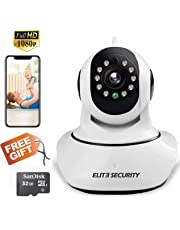 WIFI IP CAMERA ELITE PTZ 1080P FHD WIRELESS HOME SECURITY SURVEILLANCE SYSTEM SMART 2-WAY AUDIO INDOOR WITH NIGHT VISION MOTION DETECTION CCTV MONITOR FOR BABY/ELDER/PET VIDEO REC GIFT 32 GB SD CARD
