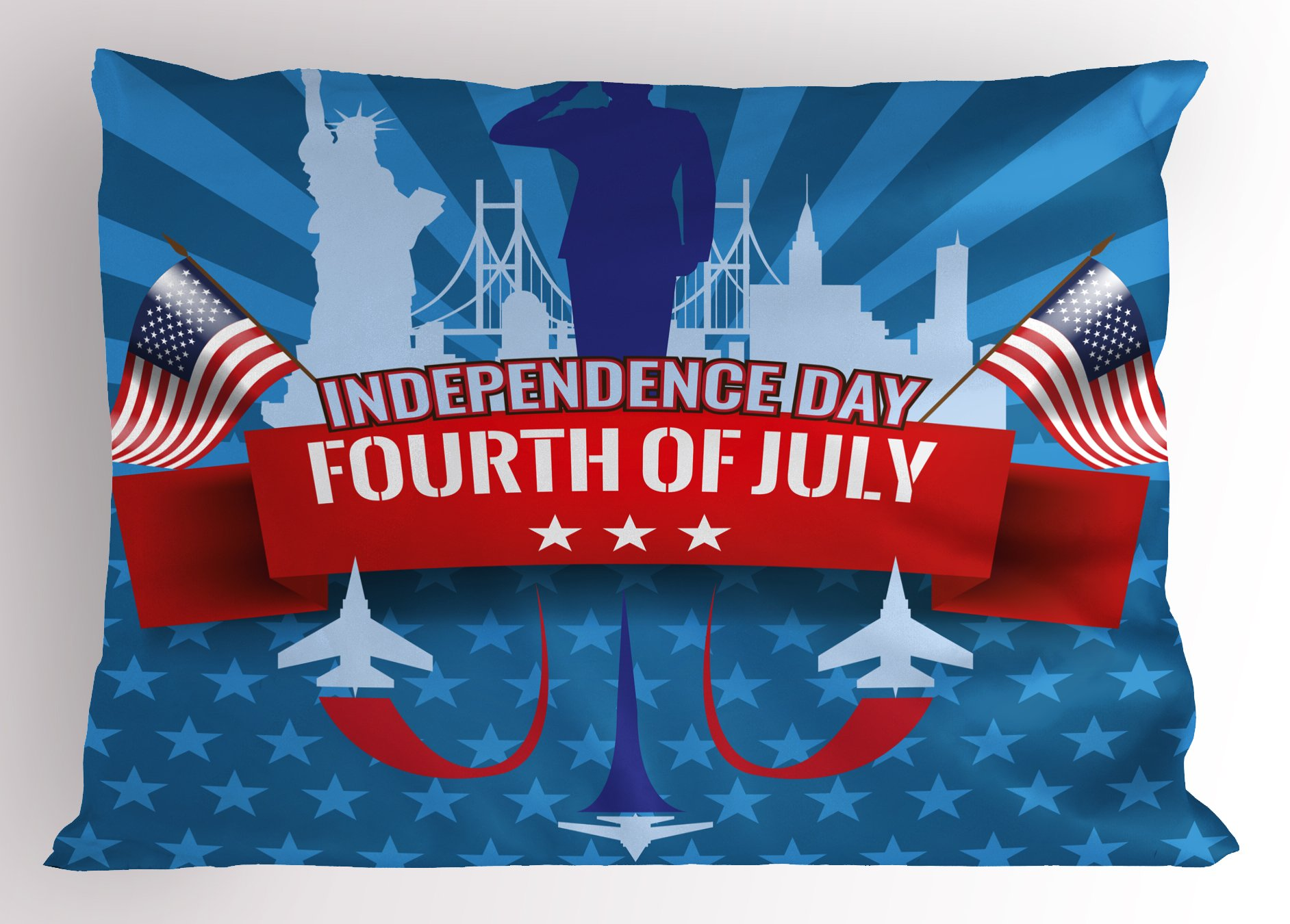 Ambesonne 4th of July Pillow Sham, Symbols America Composition with Statue of Liberty Saluting and Flag Patriotic, Decorative Standard Size Printed Pillowcase, 26 X 20 inches, Multicolor
