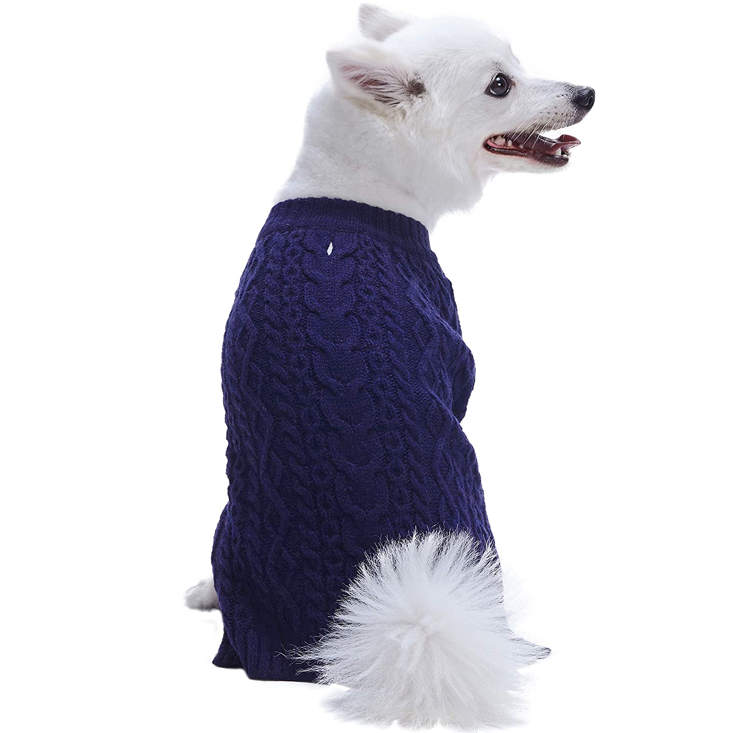 Blueberry Pet Wool Blend or Acrylic Classic Cable Knit Dog Sweater