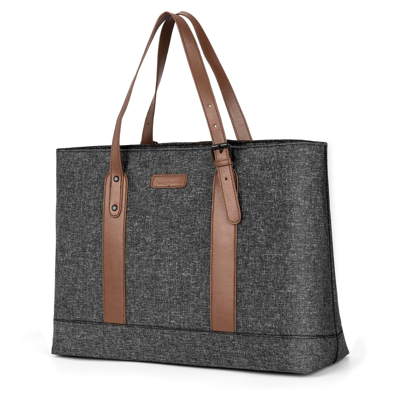 Utotebag Women Laptop Tote Bag, 15.6 Inch Notebook Ultrabook Shoulder Bag Lightweight Nylon Briefcase Classic Handbag Handle Adjustable Work Travel Business Bag (Black)