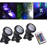 Pond Lights Remote Control Submersible Lamp [Set of 3] IP68 Underwater Aquarium Spotlight 36-LED Multi-color Decoration Landscape Lamp for Swimming Pool Fish Tank Fountain Water Rockery Grass Land