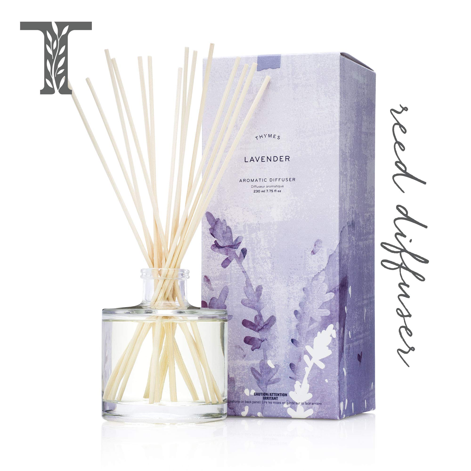 Thymes - Lavender Aromatic Oil Reed Diffuser - Gift Set with Premium Sticks, Glass Bottle and Scented Oil - 6.5 oz by Thymes