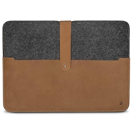 7da60e10097f4 KANVASA MacBook Air 11 Zoll Filztasche Woods - Edle Leder Filz Hülle Grau  Braun - Vintage