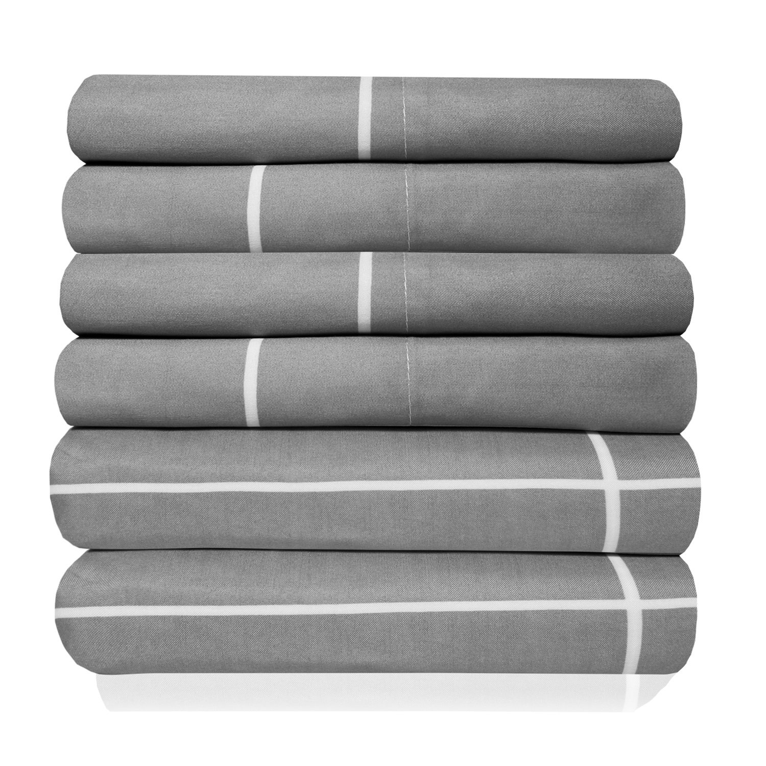 Sweet Home Collection Quality Deep Pocket Bed Sheet Set 2 Extra Pillow Cases, Great Value, Twin, Window Pane Gray, 4 Piece
