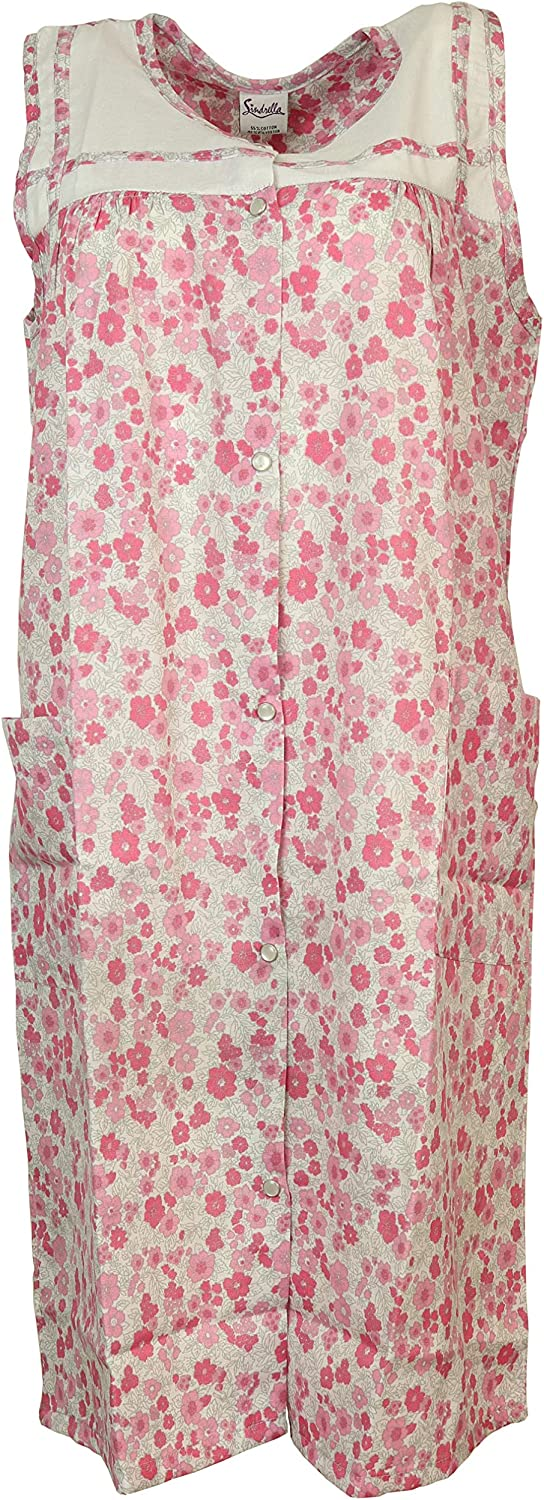 Sindrella Womens Plus Size Sleeveless House Dress Duster Robe Pockets 1X, Pink Snap Front