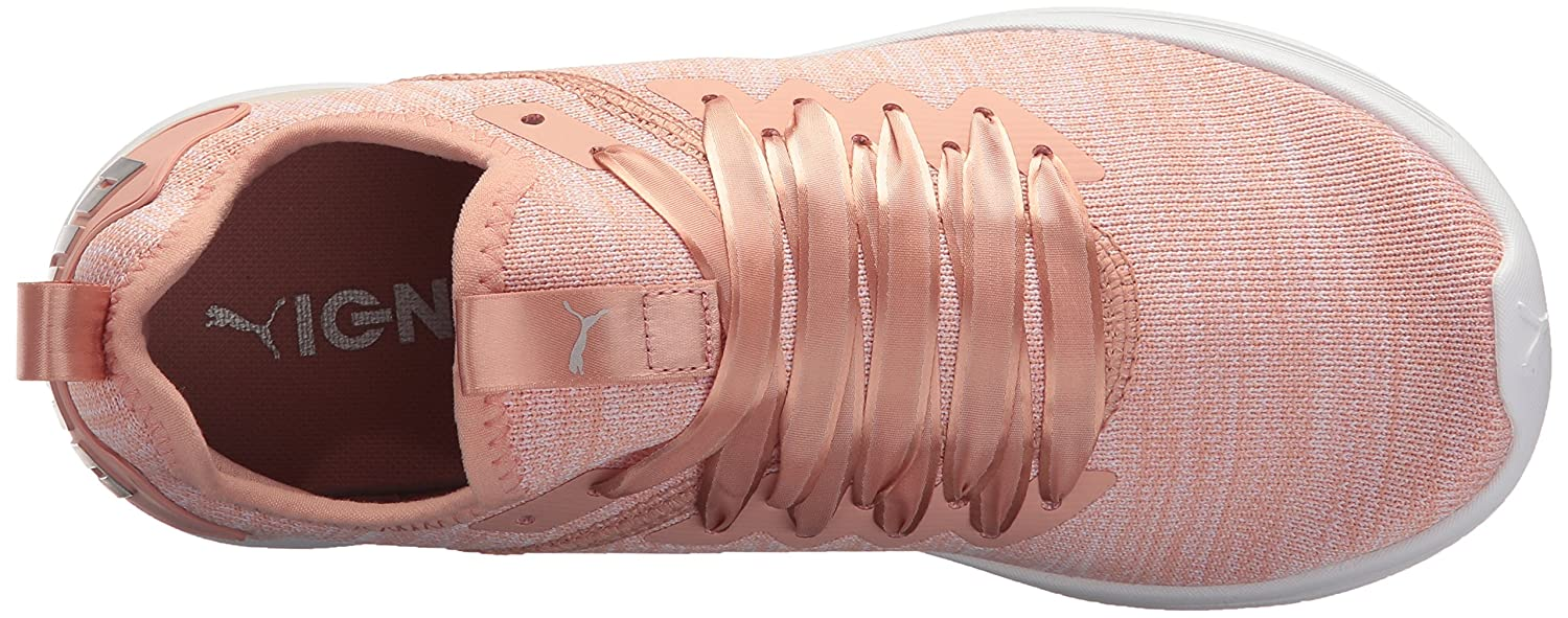 PUMA Women's Ignite Flash Evoknit Satin En Pointe Wn Sneaker B072KH5VK7 5.5 B(M) US|Peach Beige-pearl-puma White
