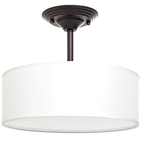 Best Choice Products 13in Semi Flush Ceiling Mount 2 Bulb Pendant Light Fixture Chandelier For Kitchen Living Room Bedroom Dark Brown