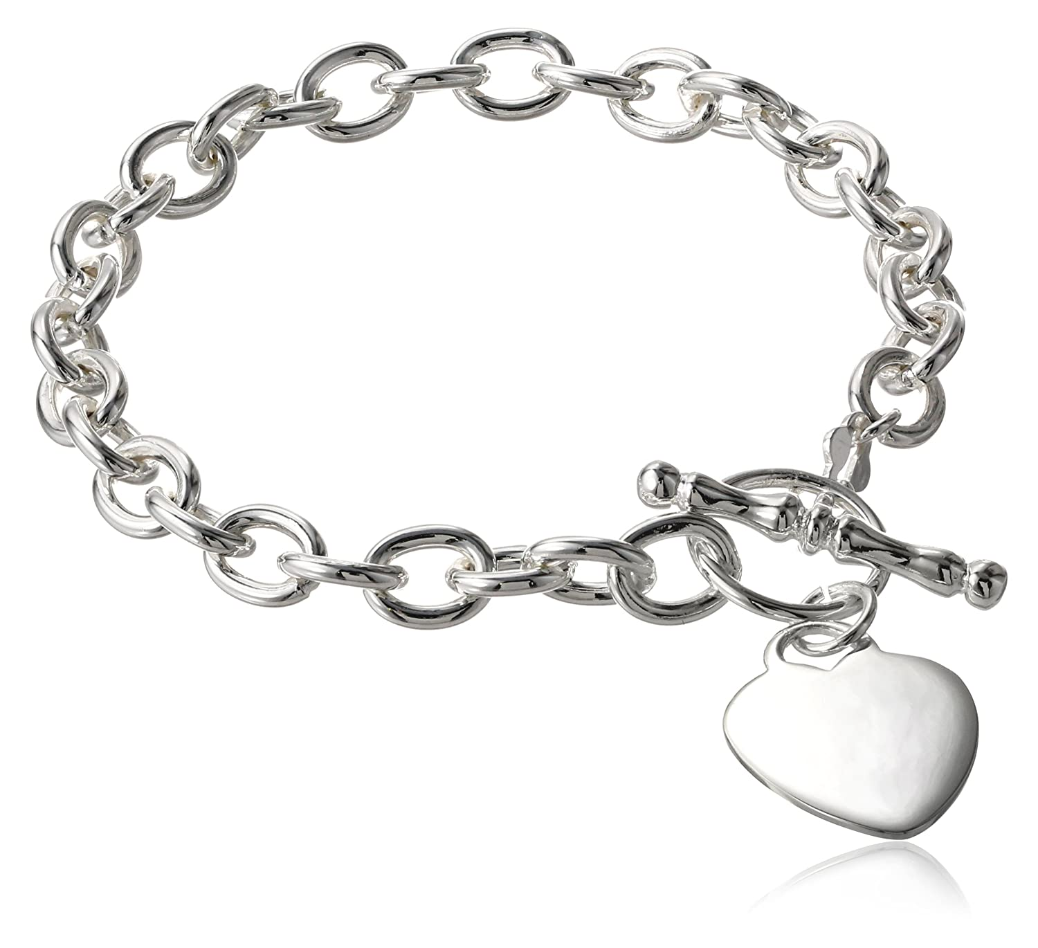Sterling Silver Heart Tag Toggle Bracelet, 7.5 7.5 Amazon Collection BR4466-7
