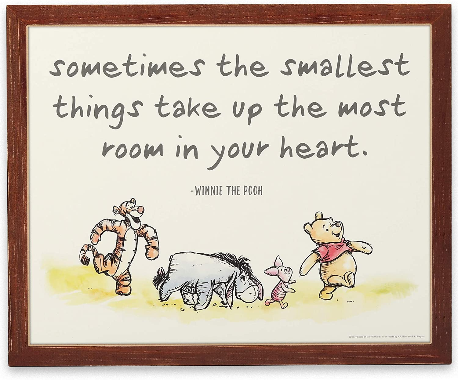Open Road Brands Disney Winnie The Pooh Room in Your Heart Nostalgic Wood Wall Décor for Nursery, Bedroom or Play Room