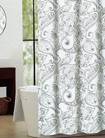 Cynthia Rowley Fabric Shower Curtain Gray Taupe Vintage Watercolor Floral  Paisley Medallion Print On White  Cynthia Rowley Curtains