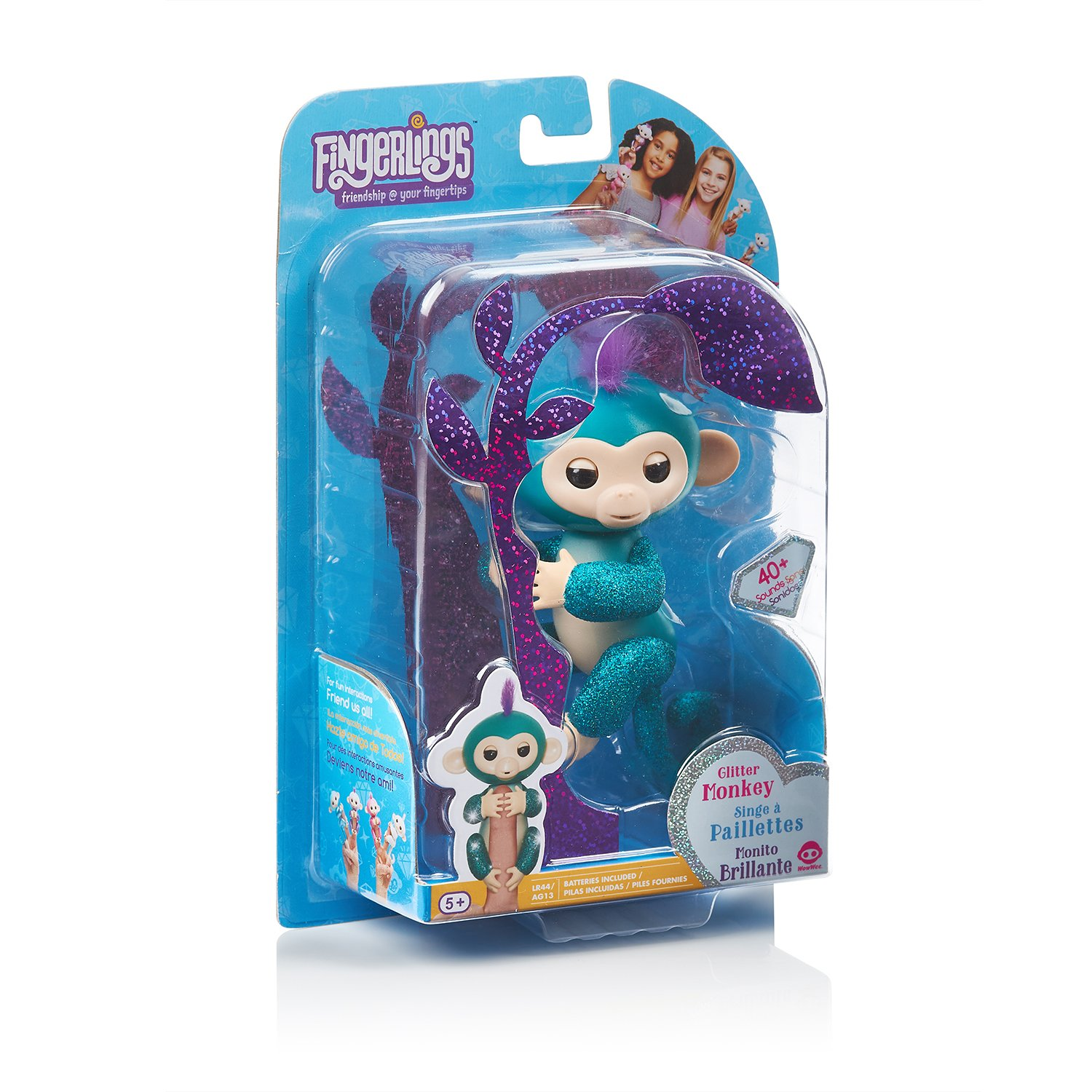 Quincy Interactive Baby Pet By WowWee Teal Glitter Exclusive Fingerlings Glitter Monkey
