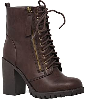 a89767ba971 MVE Shoes Women s Faux Leather Lace Up Chunky Ankle Boot