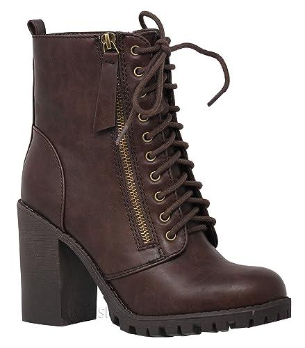 585a40f8a20d MVE Shoes Women s Block Heel Side Zipper Combat Ankle Boots