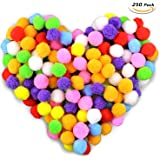 Gifort 250 pezzi Pom pom, Pompon per Forniture per Hobby e Fai Da Te Creativo Mestieri Decorazione, 2.5cm/1 pollice, Colori Assortiti