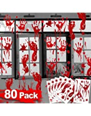 80Pcs Halloween Decorations Scary Bloody Handprint Footprint Window Decals Horror Halloween Vampire Zombie Party Supplies Bathroom Window Wall & Floor Creepy Halloween Party Favors for Kids Adults