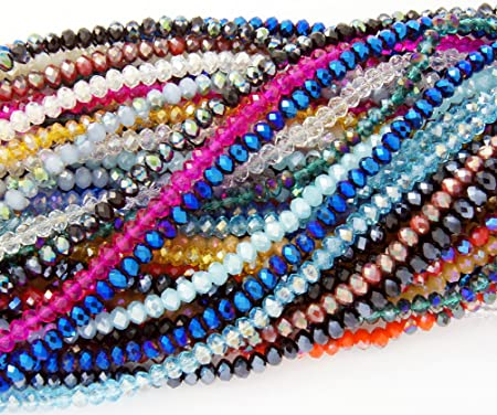4mm Glossy Finish Faceted Transparent Teal Rondelle Glass Beads Chinese Crystal Beads