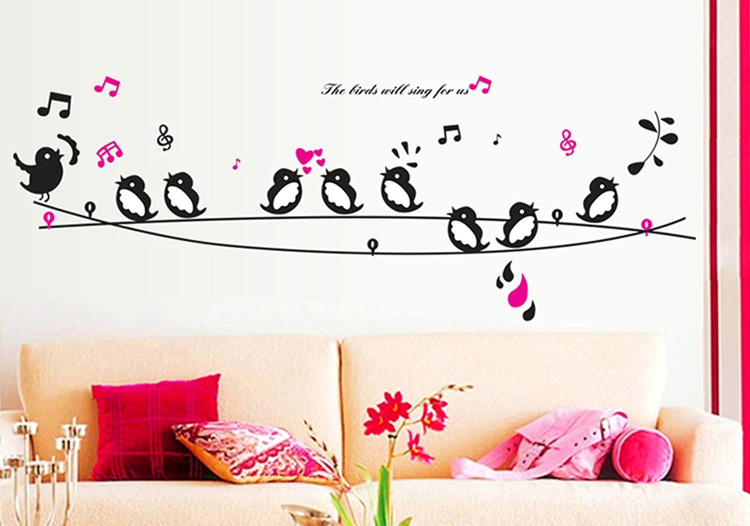 Buy uberlyfe singing birds wall sticker size 3 wall covering area buy uberlyfe singing birds wall sticker size 3 wall covering area 58cm x 160cm ws 735 online at low prices in india amazon amipublicfo Image collections