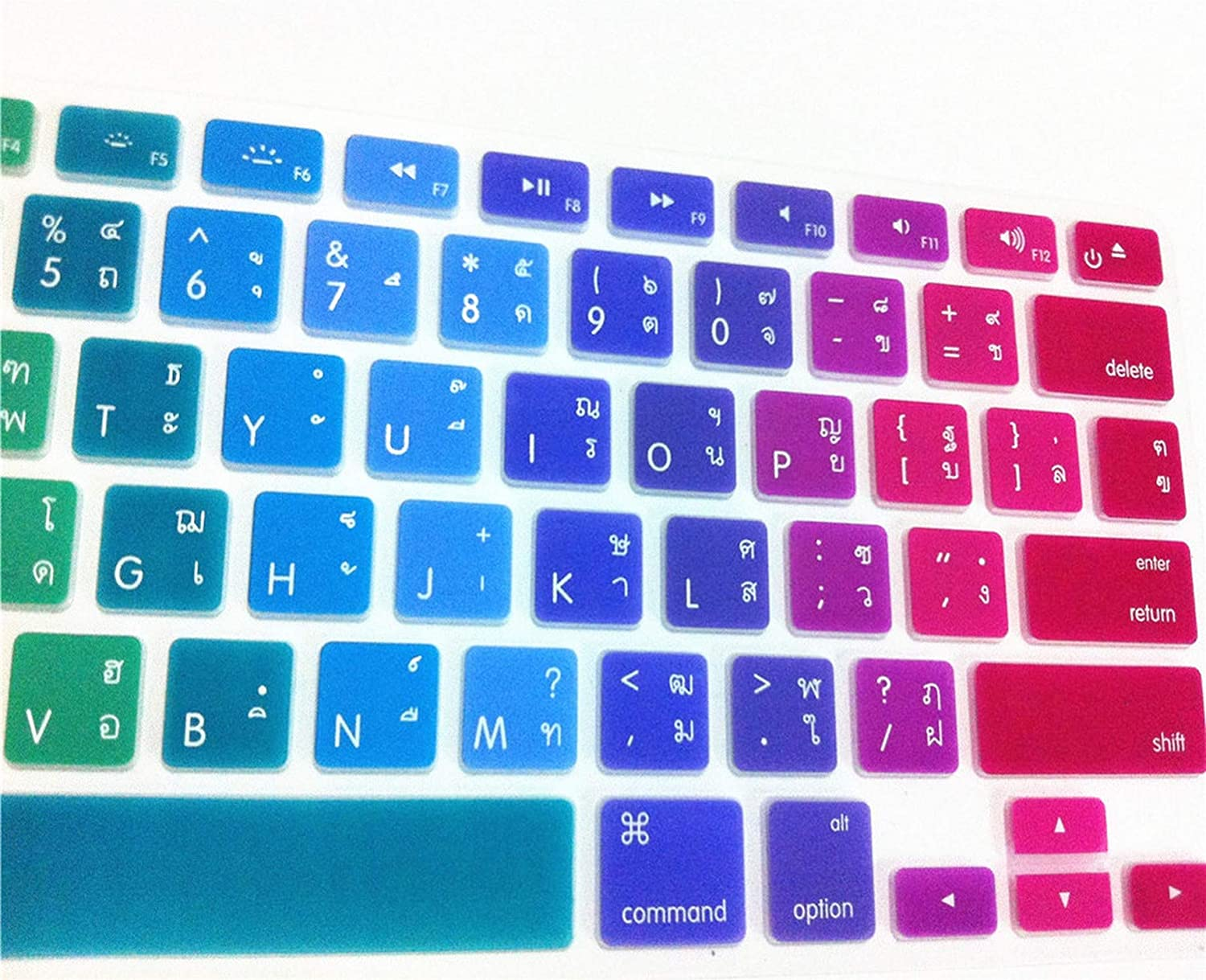 iwreuir Compatible for Thai Language Silicone Keyboard Cover Skin Protector for MacBook Air Pro Retina 13 15 17 Us for Mac Book 13.3 15.4