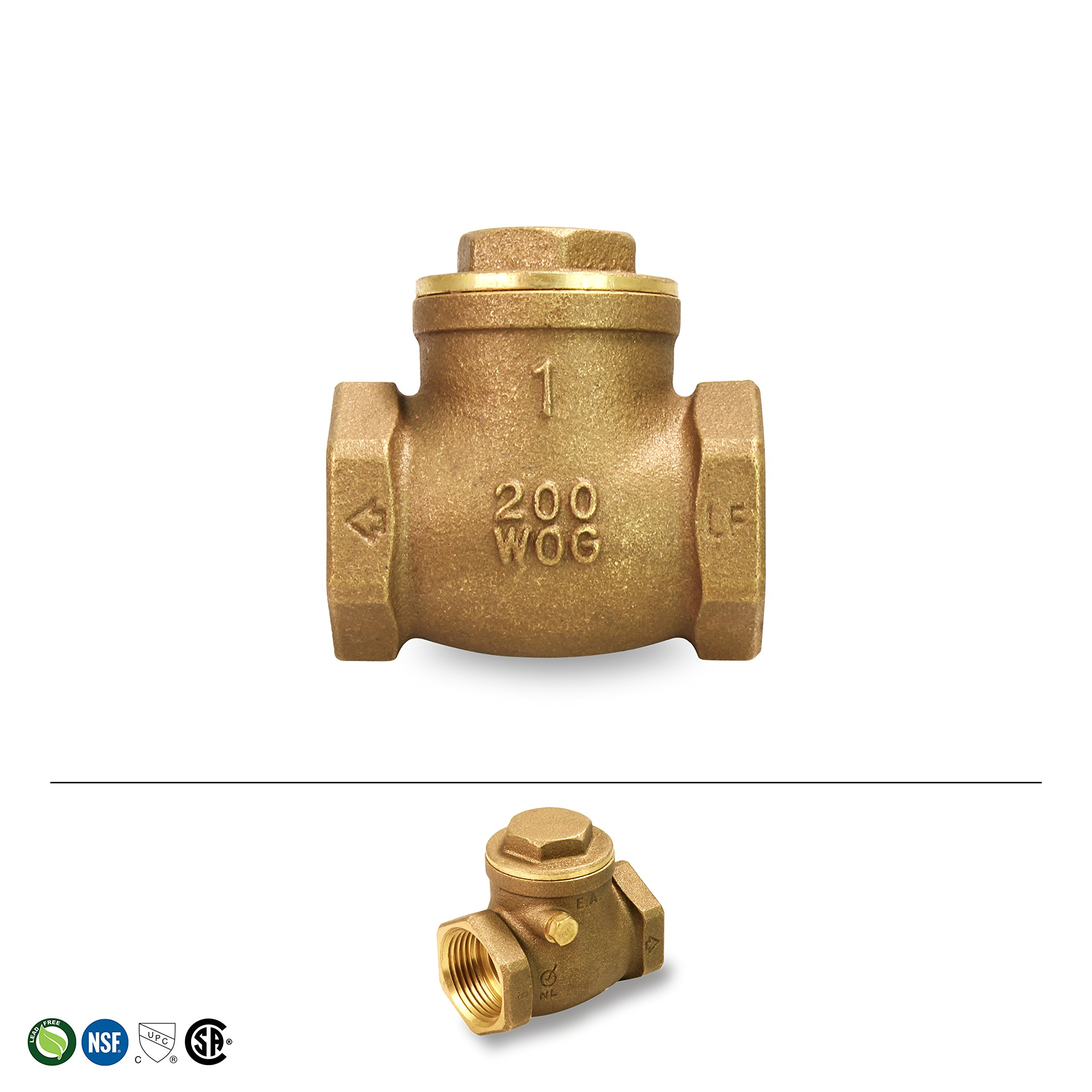 Everflow 210T001-NL 1-Inch Lead Free Brass Swing Check Valve with Female NPT Threaded, 200 PSI WOG & 125 PSI SWP, Brass Construction, Higher Corrosion Resistance Economical, Durable & Easy to Install by Everflow Supplies (Image #3)