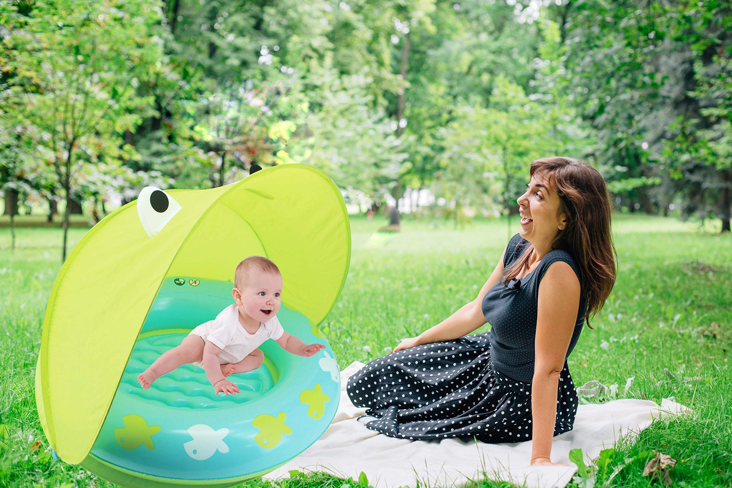 Hoovy Froggy Sun Protection Pool | Indoor & Outdoor Baby Play Gear | Toys for Newborn | Mini Swimming Accessories for Kids and Toddlers | Best Gift for Girls & Boys | Portable & Compact Swim Items by Hoovy