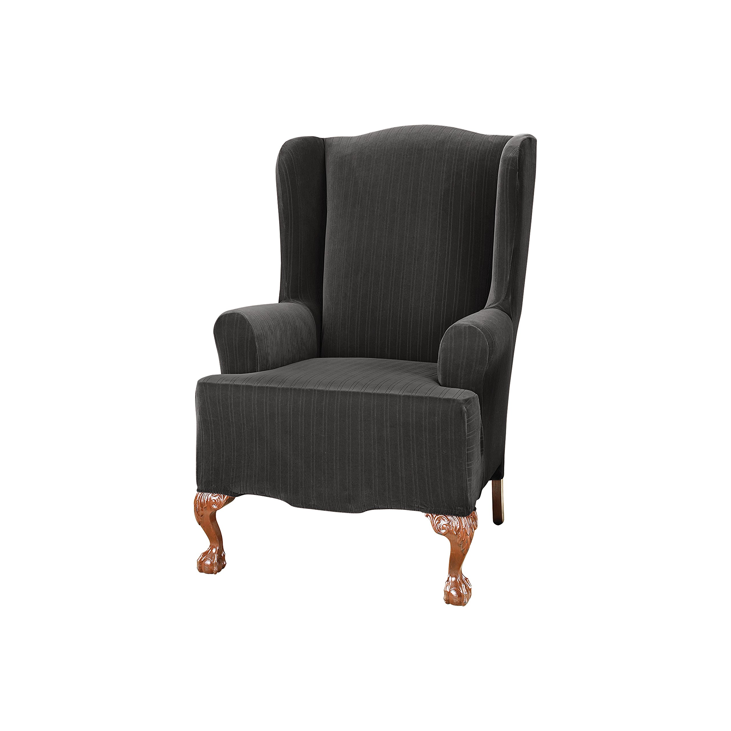 Sure Fit Stretch Pinstripe - Wing Chair Slipcover  - Black (SF39061) by Surefit