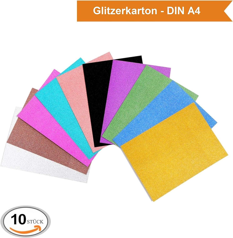 50 Stück Glitzer Papier glänzend Tonpapier Glitzer Papier Glitterkarton
