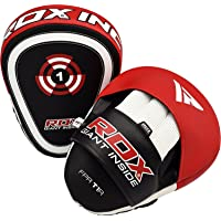 RDX Boxing Pads Focus Mitts   Curved Maya Hide Leather Hook and Jab Target Hand Pads   Great for MMA, Muay Thai, Kickboxing, Martial Arts, Karate Training   Padded Punching, Coaching Strike Shield