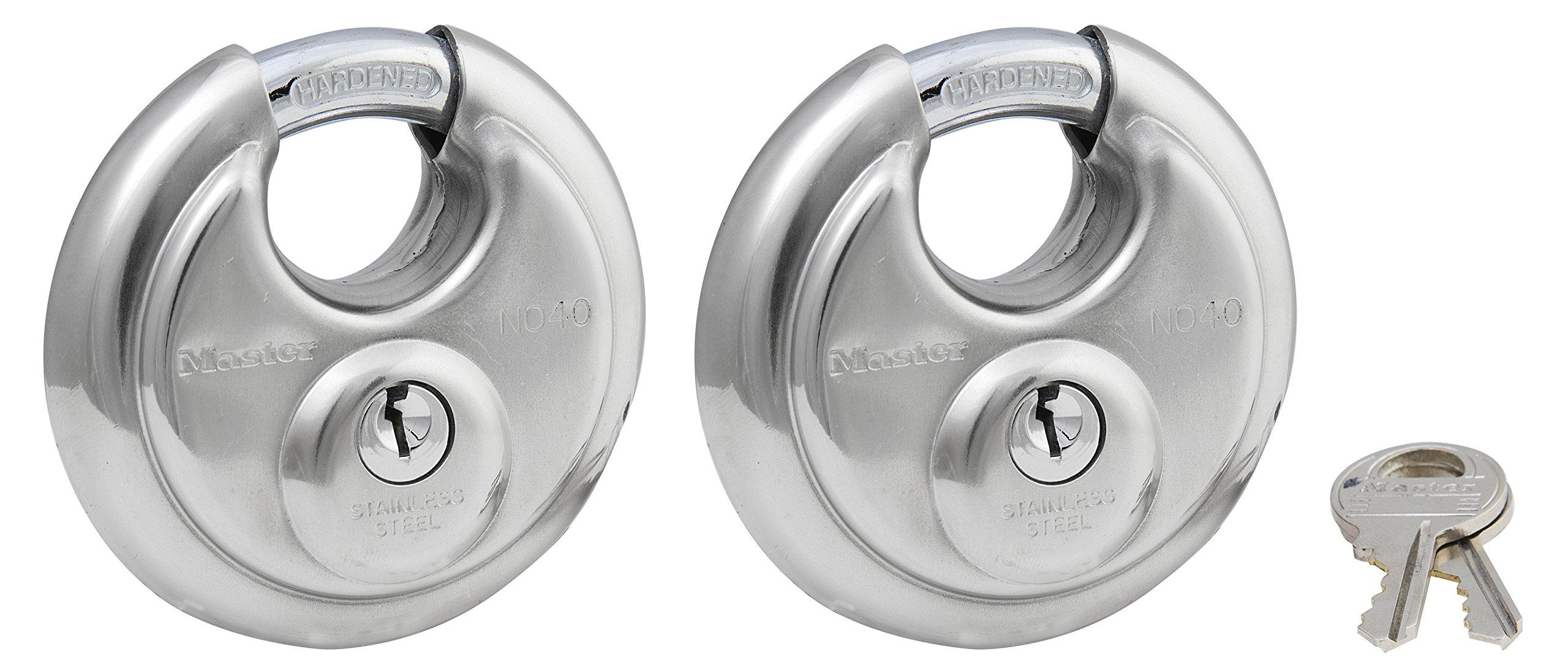 Master Lock Padlock, Stainless Steel Discus Lock, 2-3/4 in. Wide, 40T (Pack of 2-Keyed Alike)
