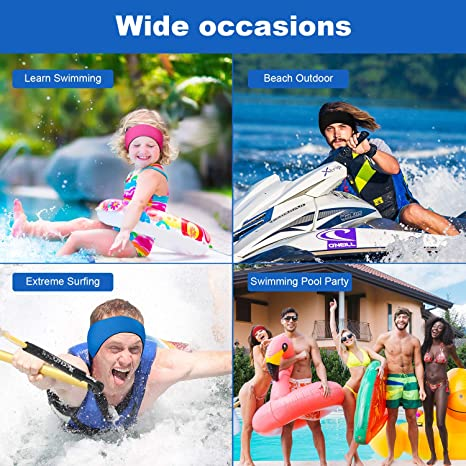 Olgaa Swimming Headband with Earplugs Adjustable Surfing Headband Ear Headband for Adults Kids 6 pack