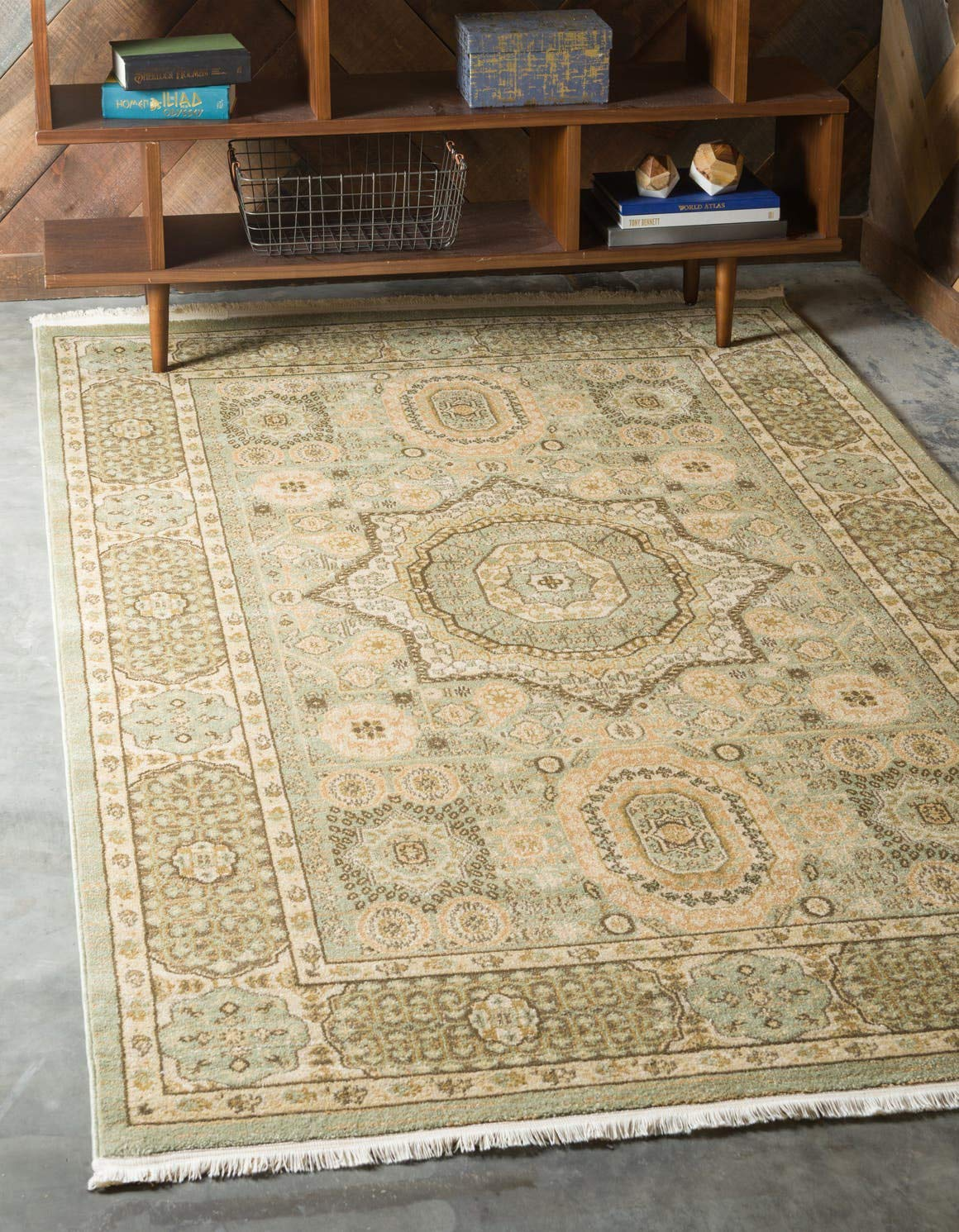 Unique Loom Palace Collection Traditoinal Geometric Classic Light Green Area Rug 6 0 x 9 0