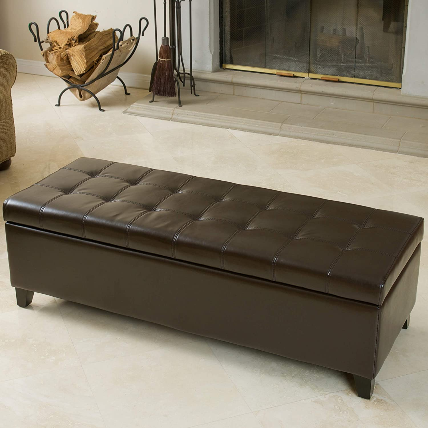 Christopher Knight Home 233716 Santa Rosa Brown Tufted Leather Storage Ottoman Bench