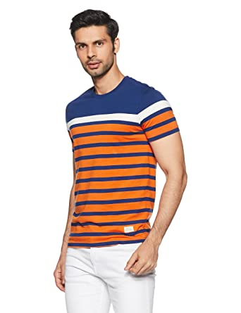 a0b5f97ff9 United Colors of Benetton Men's Striped Regular Fit T-Shirt  (18P3ENGJ3006I_Orange_M)
