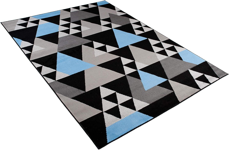 Tapiso Maya Tapis de Salon Chambre Ado Design Moderne Gris Rouge Cr/ème G/éom/étrique Rayures Mouchet/é Fin 80 x 150 cm